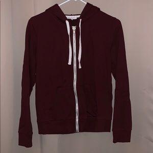 Forever 21 Maroon Zipper Sweatshirt Medium